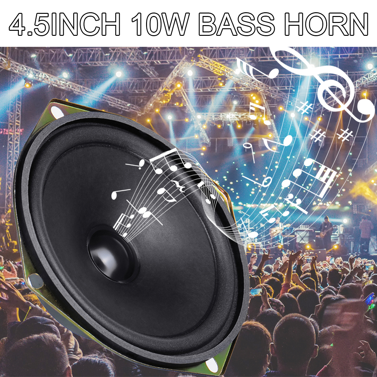 2PCS 10W 4.5 Inch Speaker Accessories Unit Box DIY Bass Horn Speaker Accessories Subwoofer Loudspeaker Stereo Strong Bass Horn