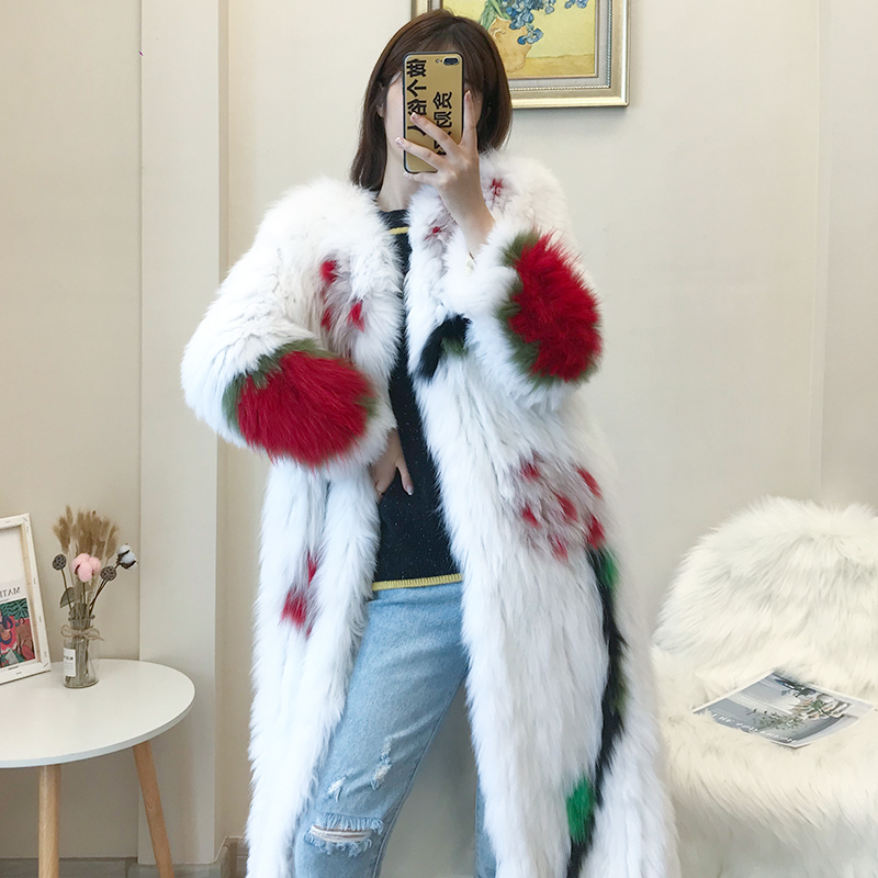 Real Fur Coat Female Long Vintage Print 100% Fox Fur Jacket Women Korean 2020 Korean Thick Warm Shearing Coats Fur Top Hiver 191