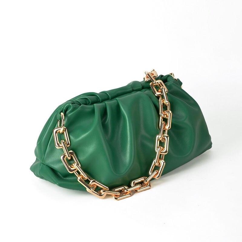 Soft PU Leather Pleated Shoulder Bag Women 2020 Luxury Designer Thick Metal Chain Clip Handbag Female High Quality Purse Fashion