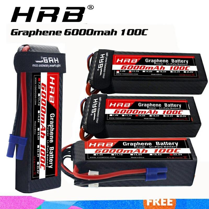 HRB 4S 6000m Graphene Battery 11.1V 14.8V 22.2V 6000mah Lipo 100C XT60 Connector For Traxxass RC Car Boat Helicopter 450XL 700E