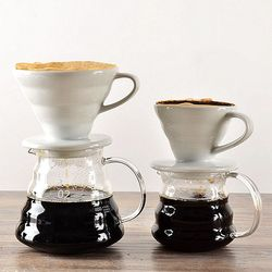 V60 stil filtre kahve filtreli fincan seramik filtre kahve başına 1 bardak/2 kahve fincanları bira filtreli fincan