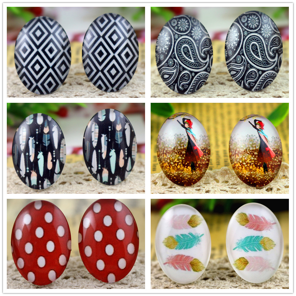 Hot Sale 10pcs 18x25mm New Fashion Handmade Photo Glass Cabochons Pattern Domed Jewelry Accessories Supplie
