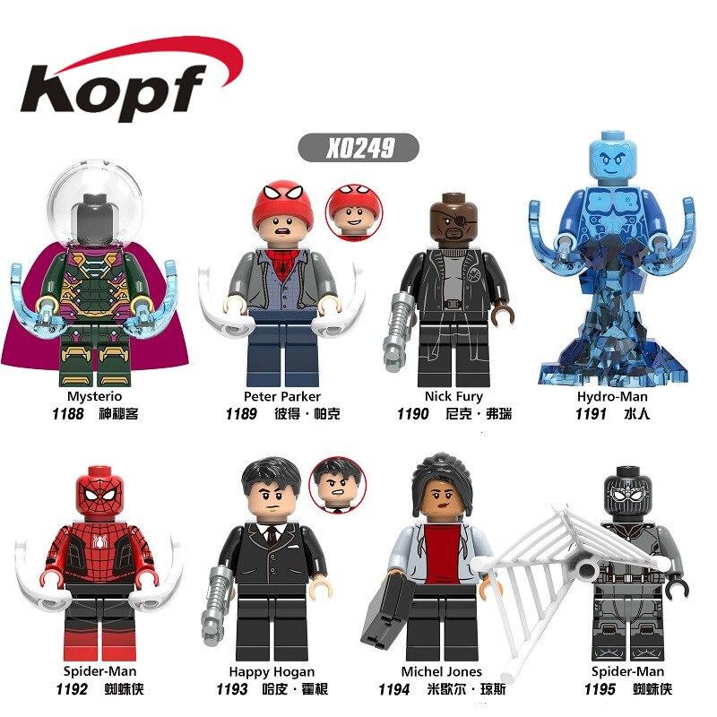 Строительные блоки Человек-паук фильм далеко от дома кирпичи гидро-человек Питер Паркер загадочный Ник Фьюри фигурки для детей игрушки X0249