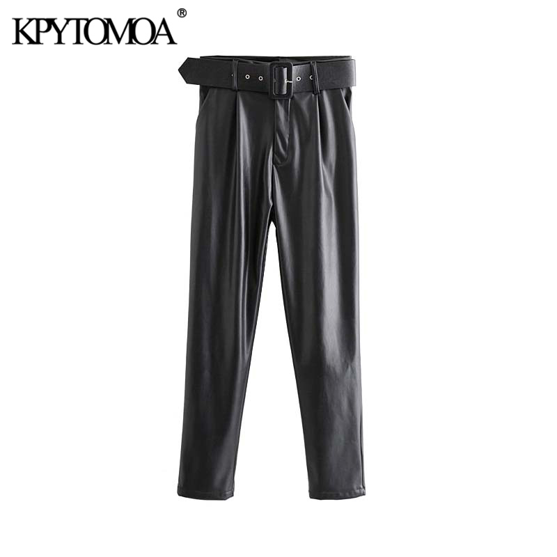 Vintage Stylish Faux PU Leather With Belt Pants Women 2020 Fashion Zipper Fly Side Pockets Female Trousers Chic Pantalones Mujer