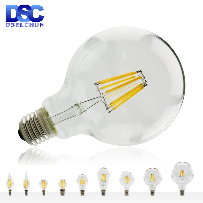 ​LED Filament Bulb E27 E14 Retro Edison Lamp 220V-240V Light Bulb C35 G45 A60 ST64 G80 G95 G125 Glass Bulb Vintage Candle Light