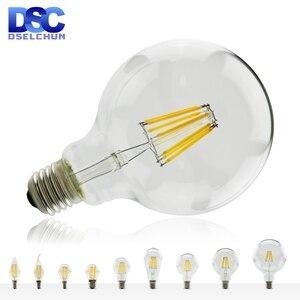 LED Filament Bulb E27 E14 Retro Edison Lamp 220V-240V Light Bulb C35 G45 A60 ST64 G80 G95 G125 Glass Bulb Vintage Candle Light(China)