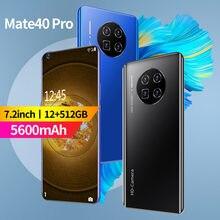 Teléfono Inteligente Mate 40 Pro 5G, pantalla HD de 7,2 pulgadas, batería de 5600mAh, cámara de 32MP, visión Global, 12G, 512G, Android telefones celulares