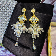 Acrylic Ethnic Plant Women Dangle Earrings Shell Flower Long Tassel For Drops