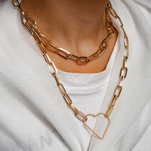 2021 Fashion New Figaro Chain Necklace Men Stainless Steel Gold Color Heart-shaped Choker Necklace For Women Men Jewelry