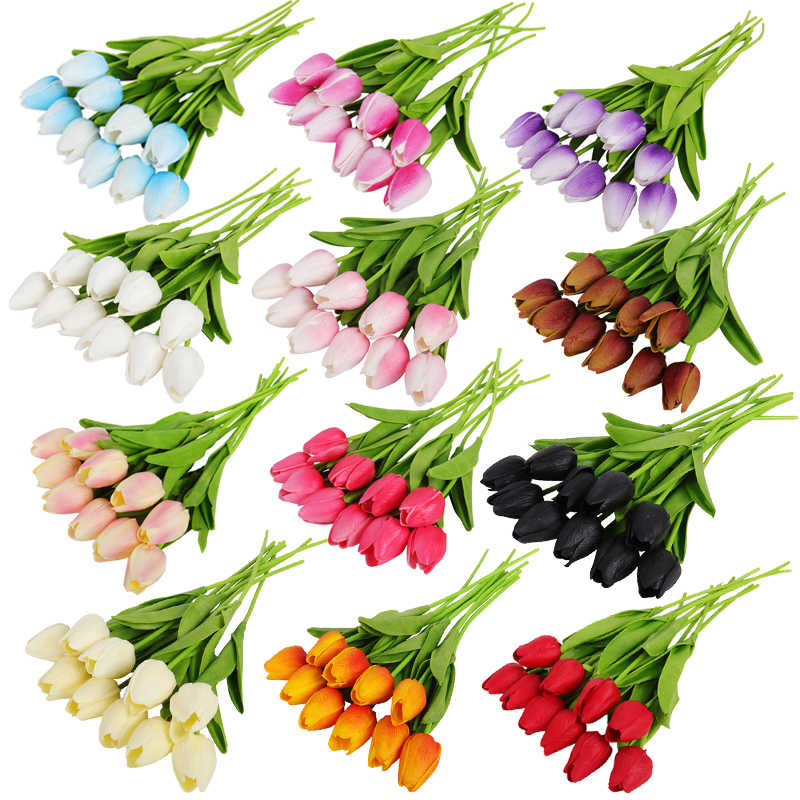 10pcs Tulip Artificial Flower Tulip Garden Artificial Bouquet Fake Flower Gift for Wedding Decoration Flowers Home Decor