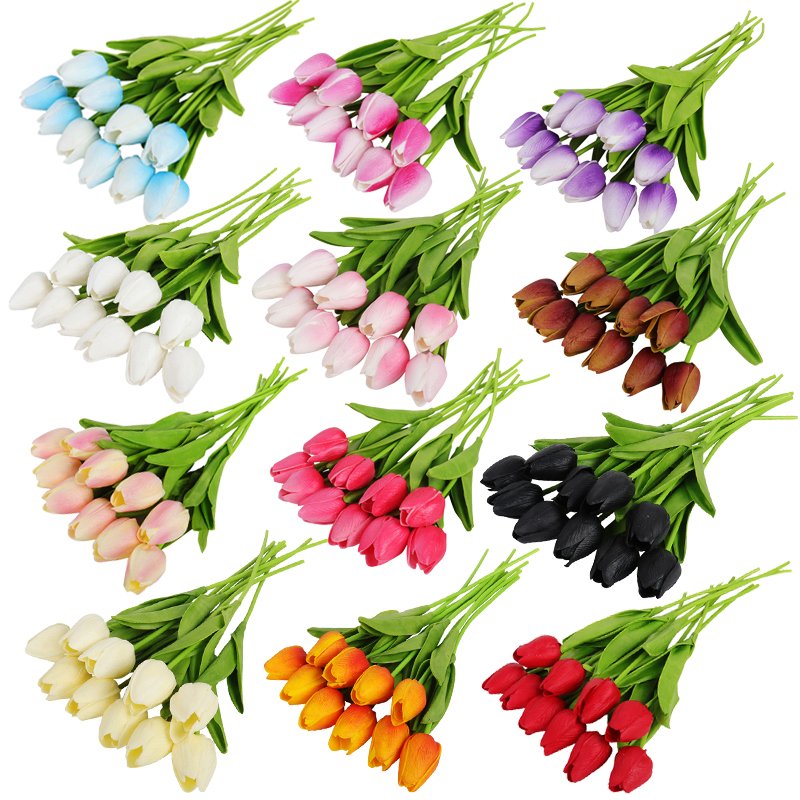 10pcs Tulip Artificial Flower Tulip Garden Artificial Bouquet Fake Flower Gift for Wedding Decoration Flowers Home Decor