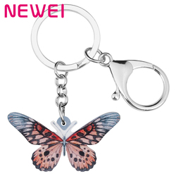 Newei Acrylic Spot Papilio Butterfly Keychains Cute Insect Keyring Animal Jewelry Gift For Women Kids Friends Purse Charms