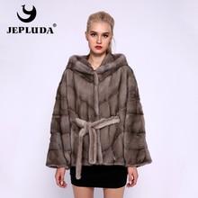 JEPLUDA חדש סלעית Loose בת שרוולים טבעי אמיתי מינק פרווה מעיל נשים החורף עבה חם מלא אמיתי פרווה מעיל אמיתי פרווה מעיל