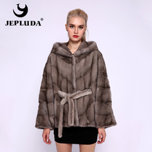 JEPLUDA New Hooded Loose Bat Sleeved Natural Real Mink Fur Coat Women Winter Thick Warm Complete Real Fur Coat Real Fur Jacket