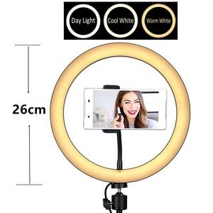 Image 5 - خاتم إضاءة ليد ل Selfie ترايبود مع مصباح حلقة Selfie للهاتف يوتيوب الإضاءة التصوير كاميرا صور حامل قصاصة المعدات