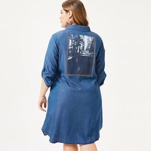 Image 2 - MK 2019 autumn Plus Size womens denim Shirt dress fashion Ladies femal elegant embroidery dresses woman party night