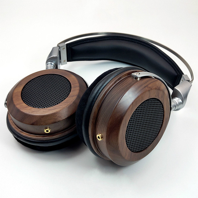 HiFI 50mm Headphone Over Ear Headset With 3.5mm Audio Cable 16Ohm Speaker Unit Open Back Zinc alloy Wooden Good Quality New 1PC