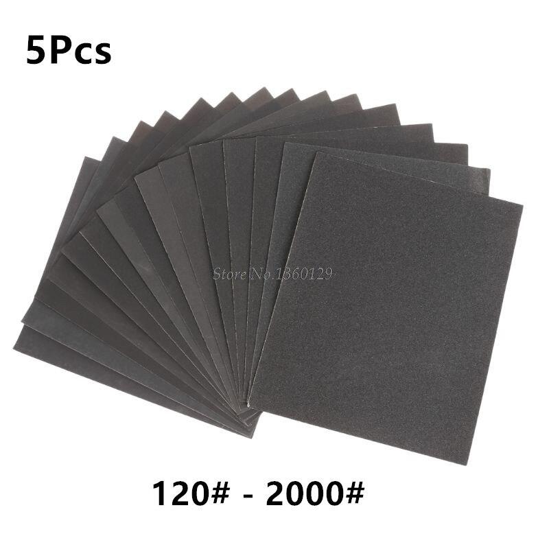5Pcs 120-2000# Gift Waterproof Sandpaper Water Sand Paper Polishing Cloth Mesh Water Amber Bodhi Polishing Tool 23x28cm