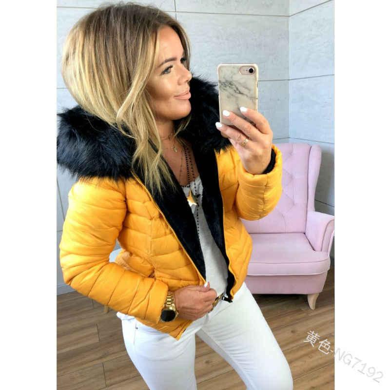 WEPBEL Neue Jacken Winter Schlanke Frauen Casual Jacken Zipper Mantel Einfarbig Weiblichen Kurzen Absatz Großen Pelz Kragen Kleidung