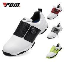Pgmรองเท้ากอล์ฟผู้ชายหนังรองเท้าผ้าใบกันน้ำAnti SlipอัตโนมัติShoeslaceนุ่มสบายBreathableกีฬาการฝึกอบรมรองเท้า
