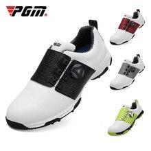 Pgm גולף נעלי גברים עור עמיד למים סניקרס אנטי להחליק אוטומטי Shoeslace רך נוחות לנשימה ספורט גולף אימון נעליים
