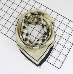Two Sides Lace Pattern Print 16 MM High Quality Thick Twill Hand Rolled Square Mulberry Silk Scarf 90 CM
