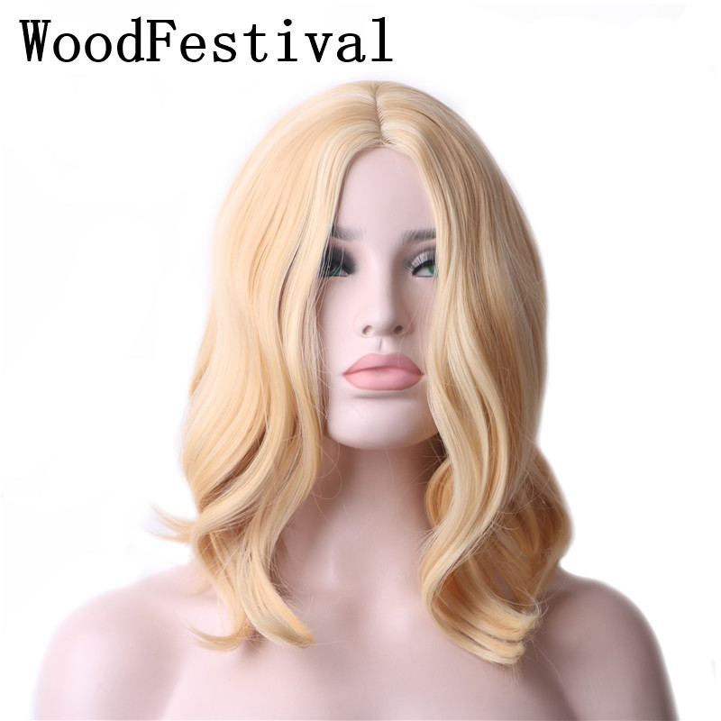 WoodFestival Womens Short Mix Blonde Wig Bob Women Heat Resistant Fiber Wavy Cosplay Wigs Synthetic Hair + Hairnets