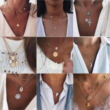 26 стилей богемное многослойное ожерелье с подвеской s для женщин модное Золотое геометрическое Очаровательное ожерелье в виде цепи, ювелирные изделия оптом