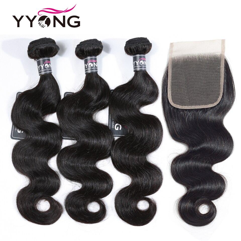 Yyong Hair 3 Bundles  Body Wave Bundles With Closure 4x4  4Pcs/Lot   Bundles With Lace Closure 1