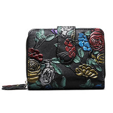Bifold Animal Printing Women Genuine Leather Wallet Mini Clutch Purse Vintage Female Zipper Coin Pocket Leather ID Card Holder