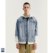 Cooo Coll men women fashion denim jacket hip hop streetwear blue tops loose hole knitting thick jogger kanye west winter coats