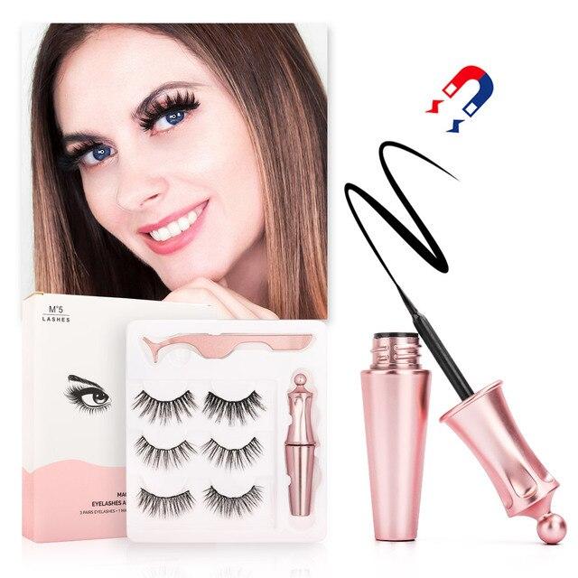 New 3 Pairs/set 3D Magnetic Fake Eyelashes Extension Natural Reusable Magnet False Eyelashes kits with Magnetic Eyeliner tweezer