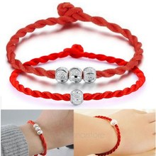 Woman Red Cord  Bracelets Lucky Bead Red Bracelet Jewelry Ball Bead Red Rope Line Bracelet Bangle Hand Chain Fashion Jewelry купить дешево онлайн
