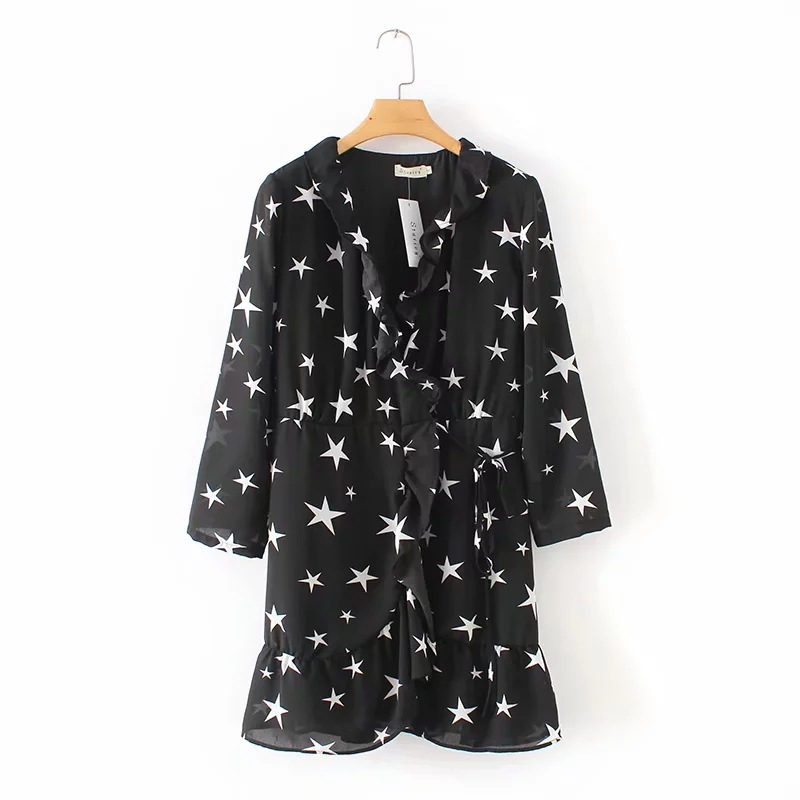 INS New Style Europe And America WOMEN'S Dress Five-pointed Star Dillon Hot Long Sleeves Model Wrap Dress