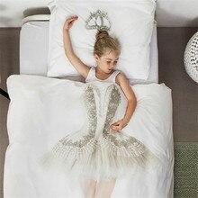 4/3ps 3D impresión juego de cama bailarina niña y perro edredón funda sábana almohada cubre ropa de cama moderna falda de flores niños regalo de niño