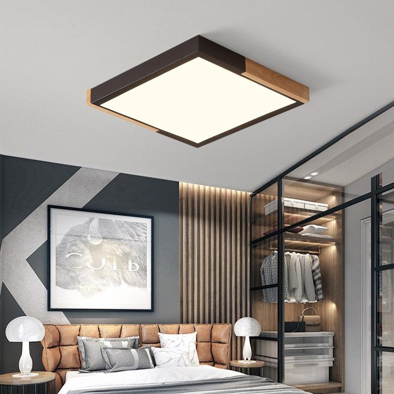 Northern European-Style Ceiling Lamp Creative Bedroom Lamp Circle LED Living Room Lights Solid Wood Minimalist Modern Macarons L