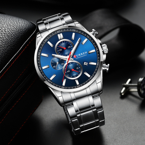 Image 2 - New Curren Watches Mens Brand Fashion Sport Chronograph Quartz Male Watch Stainless Steel Band Date Clock Luminous Pointers
