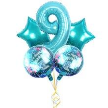 귀여운 인어 테마 파티 호일 풍선 32 인치 블루 번호 풍선 아기 소녀 생일 파티 장식 에어 Baloes 키즈 완구