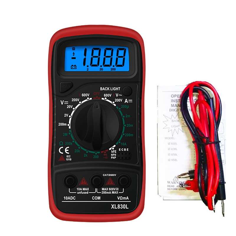 Urijk XL830L Digital Multimeter AC/DC Handheld Backlight Capacitance Tester XL830L Multimeter Precision Measurement Tester