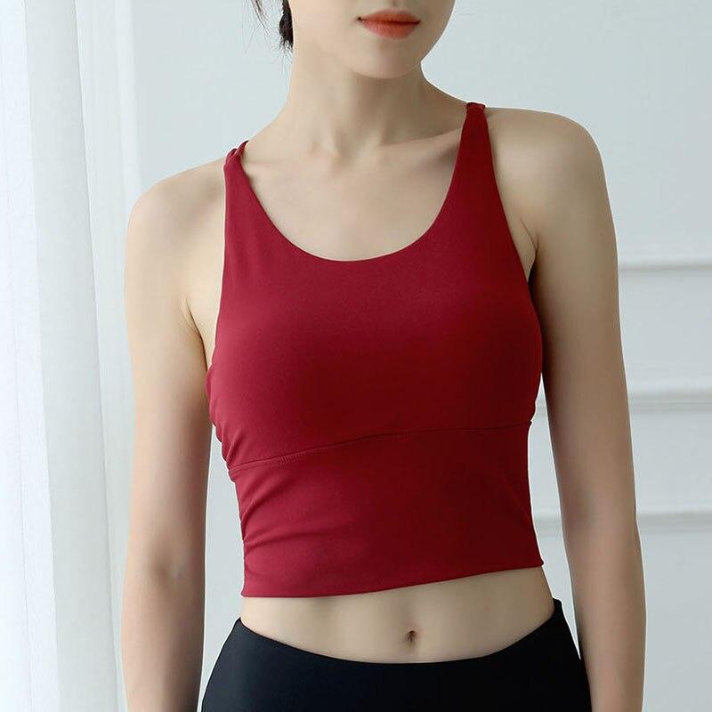 Women Gather Sports Bras For Fitness Yoga Running Jogging Gym Wear Stretch Padded Sport Top Seamless Athletic Vest Yoga Bra Vest