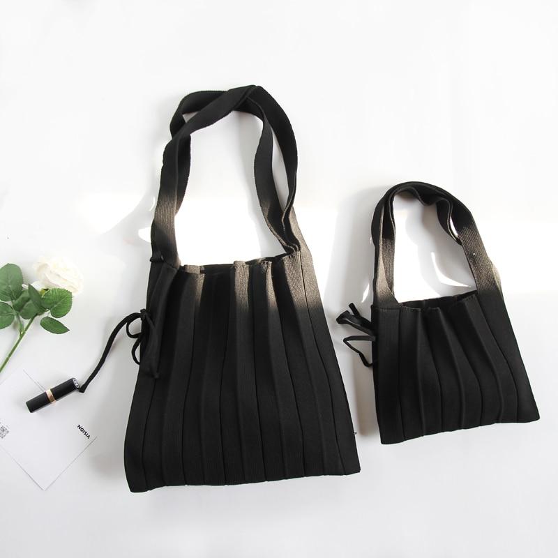 Angelatracy 2019 New Knitting Contrast Split Joint Hand Art Fashion Folded Handbag Wrinkle Shoulder Bucket Tote Shopping Bags Women Women's Bags