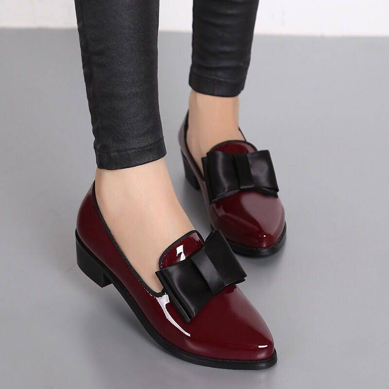 Women Pumps Fashion Bowknot Shiny Patent Leather Block Chunky Low <font><b>Heels</b></font> Single Shoes Woman Pointed Toe Pumps Zapato Mujer image