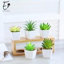 Erxiaobao 14 Pezzi/set di Simulazione di Piante Succulente Mini Bonsai in Vaso Piante Artificiali con Vaso Collocato Piante Verdi Decorazione