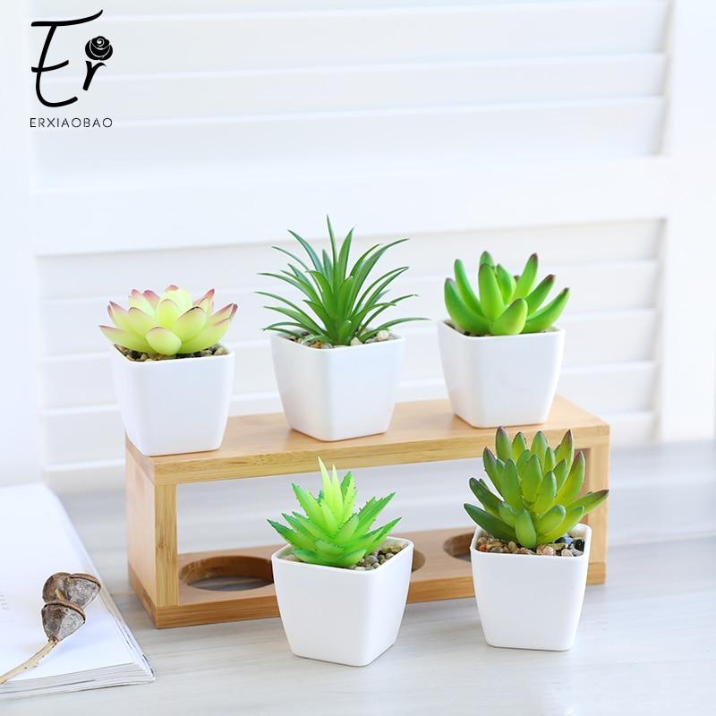 Erxiaobao 14 Pieces/Set Simulation Succulents Mini Bonsai Potted Artificial Plants With Pot Placed Green Plants Decoration