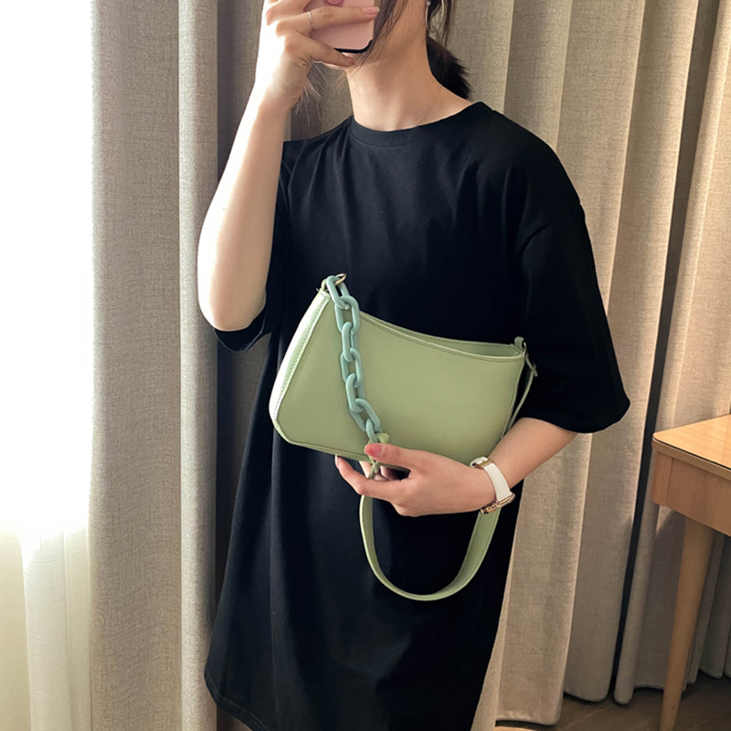 Thick Chain PU Leather Crossbody Bags For Women 2020 Summer Solid Color Simple Shoulder Handbags Female Travel Totes