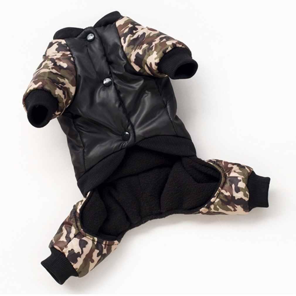 Zimowy ciepły pies cztery nogi elegancki płaszcz ubrania dla zwierząt domowych FBI-z nadrukowanym napisem kamuflaż kostium kombinezon bawełniany płaszcz kurtka