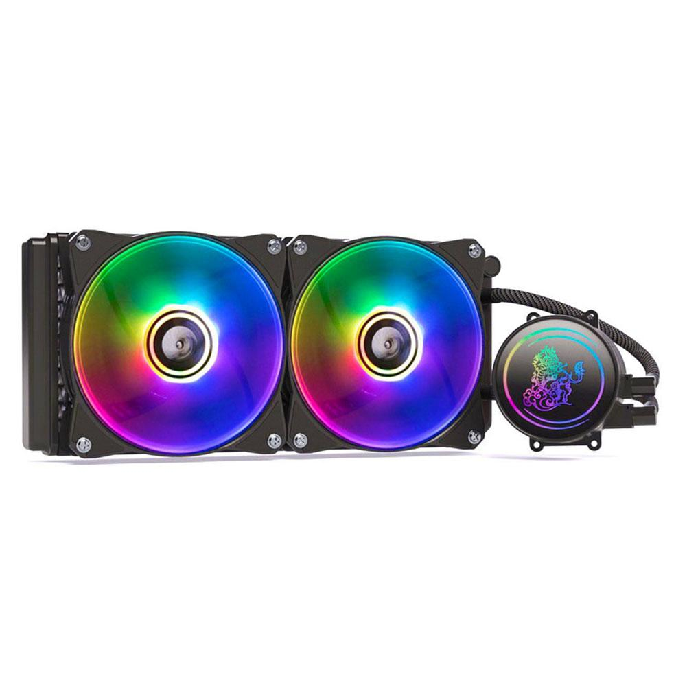 New <font><b>CPU</b></font> Liquid Cooler 240 Radiator Dual Chamber Pump Fans Independently Controlled RGB Close-Loop Cooling Fan Kit image
