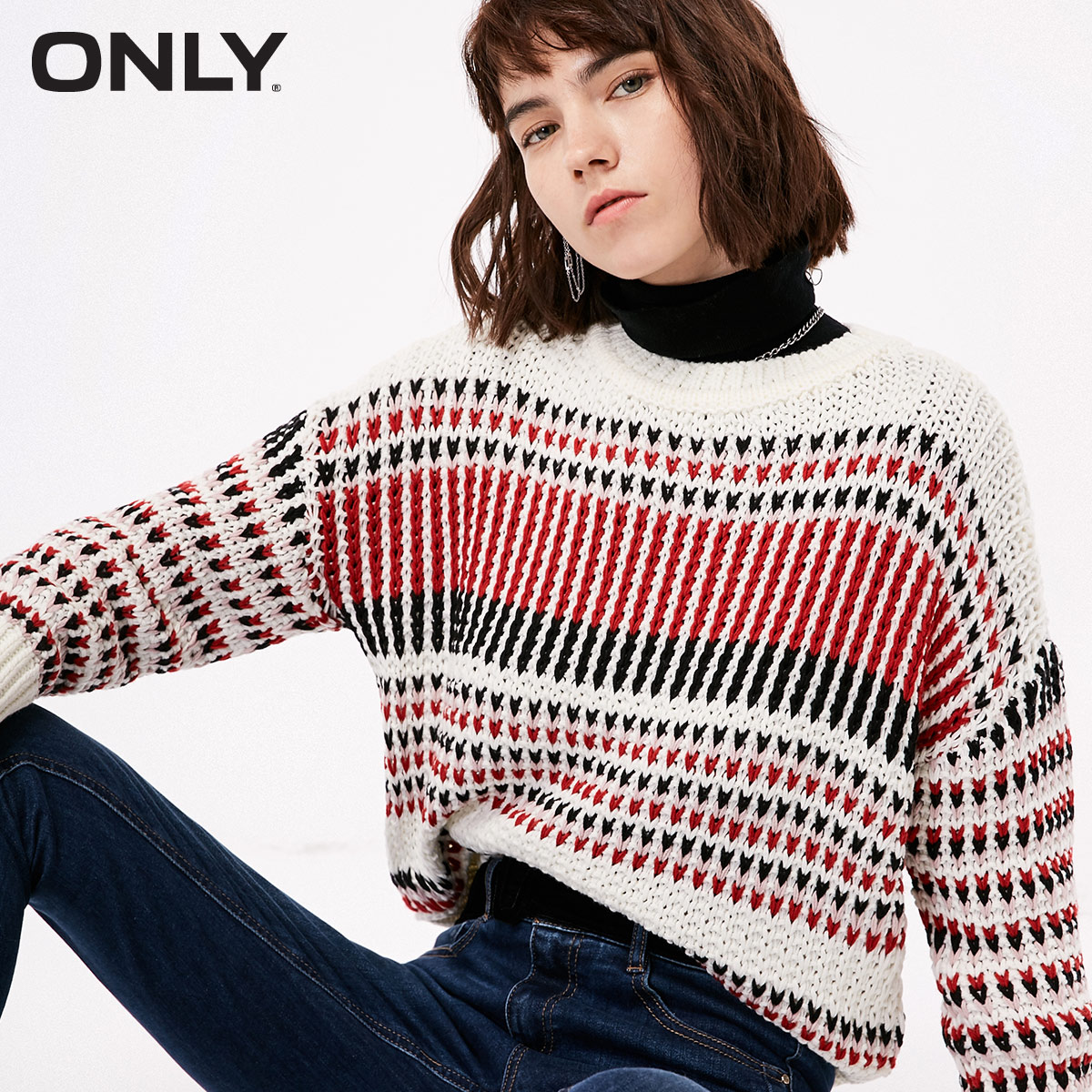ONLY Women's Autumn New Sweet Color Striped Sweater | 118413525