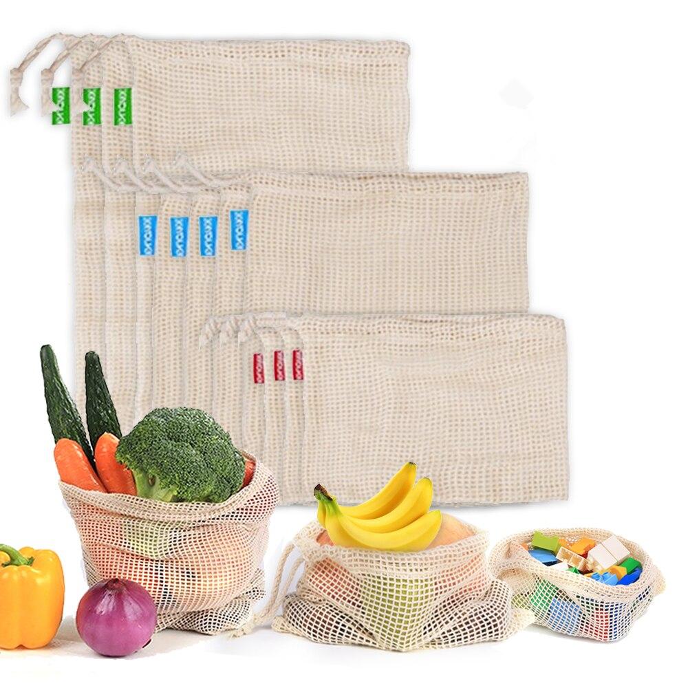 3 шт многоразовые мешки из хлопчатобумажной сетки для овощей, фруктов, кухни, моющиеся сумки для хранения с кулиской, 3 размера в наличии|Сумки и корзины|   | АлиЭкспресс