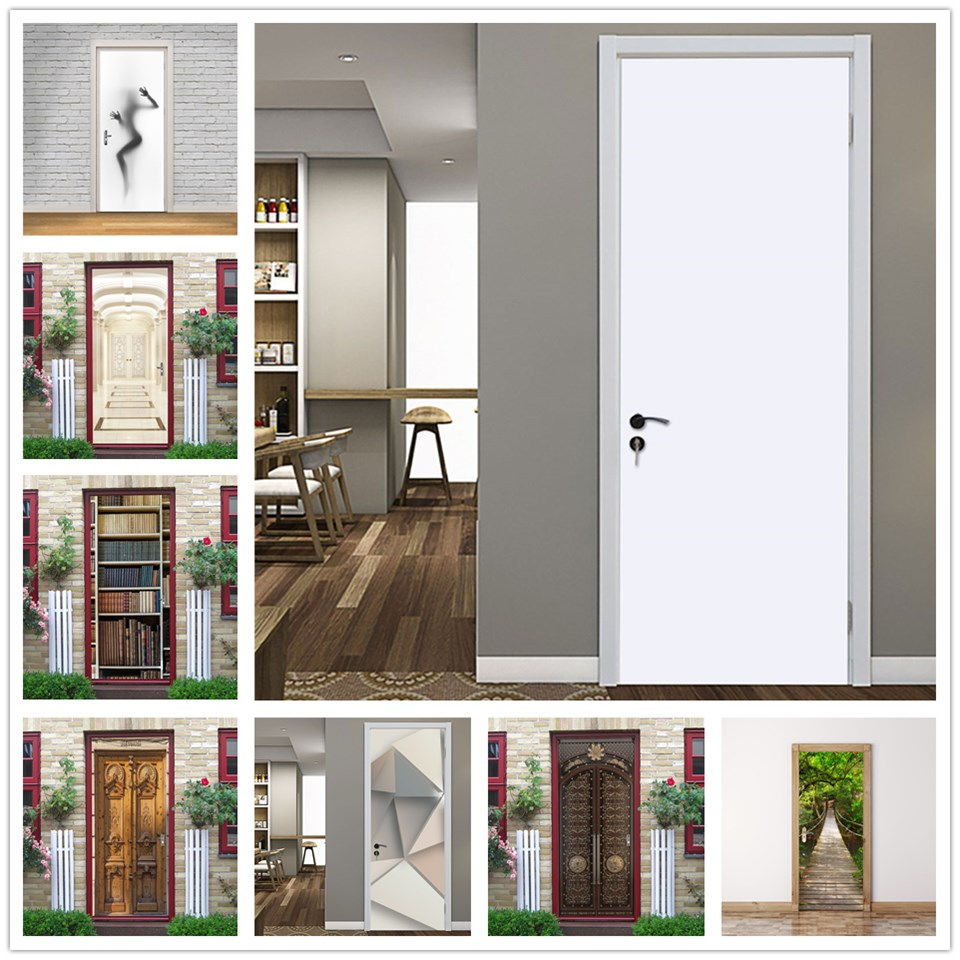 White Stickers On The Doors Home Decor Poster PVC DIY Self-adhesive Waterproof Wallpaper Removable Mural Art Decals Deursticker
